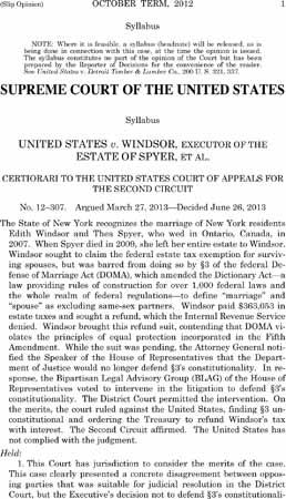 Supreme Court strikes down DOMA.