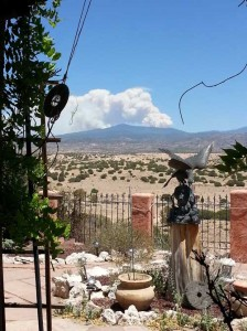 21 June 2013 A view from my back yard, looking east, to the second fire in the Pecos Wilderness area.