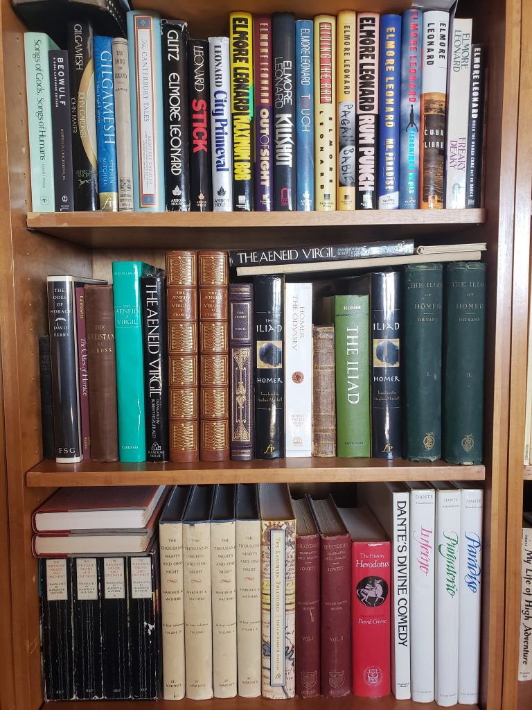 Shelves of Classics and Elmore Leonard