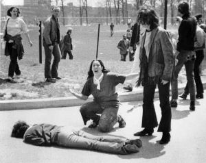 Mary Ann Vecchio gestures and screams as she kneels by the body of a student, Jeffrey Miller. Photo by John Filo, copyright © 1970 Valley News-Dispatch
