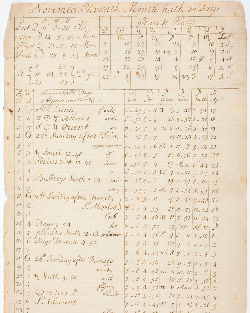 A manuscript page from Benjamin Banneker's almanac (courtesy American Antiquarian Society)