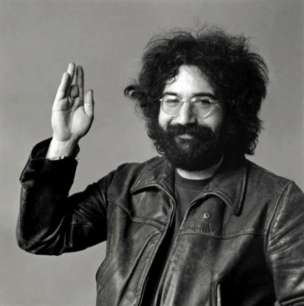 Photo © 1969 Baron Wolman. Jerry Garcia revealing to the public, for the first time, his missing finger.