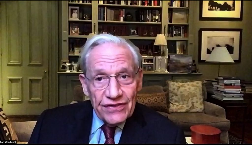 "Bob Woodward from a ""Journalism Under Fire' Zoom meeting, the evening of 3 Dec 2020"