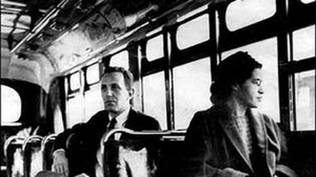 Rosa Parks sits in the front of a bus in Montgomery, Alabama
