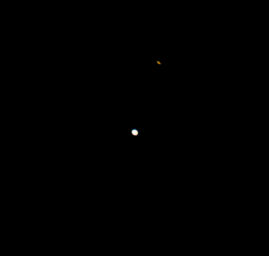 Saturn (above) & Jupiter (below) the Night Before Conjunction. Saturn's elongation is from its rings.