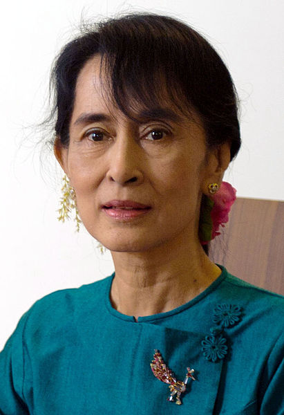 Aung San Suu Kyi, extracted from a photograph of her meeting with U.S. Department of State Secretary Clinton, 2011 from Wikimedia Commons.