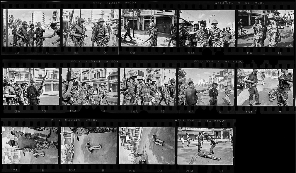 Photographic Contact Sheet of Eddie Adams Showing the Train of Events Leading to Brigadier General Nguyễn Ngọc Loan Shooting Nguyễn Văn Lém, a Viet Cong Captain, February 1, 1968.